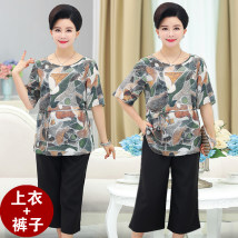 Middle aged and old women's wear Summer of 2018 2XL 3XL 4XL XL Picture color leisure time suit easy Two piece set 40-49 years old Socket Crew neck routine routine 903-42 Cropped Trousers
