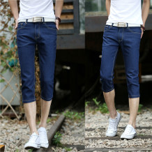 Jeans Youth fashion Others 28, 29, 30, 31, 32, 33, 34 7% pure blue lightning standard skin 7% sky blue Thin money Micro bomb Thin denim Cropped Trousers Travel? summer youth middle-waisted Slim feet tide 2017 Little straight foot zipper Stone washing / grinding Three dimensional tailoring cotton