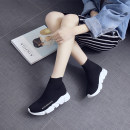 High shoes 34 35 36 37 38 39 40 41 42 43 Black (high top) black Other / other cloth Round head Sleeve Mesh Mesh Netting Korean version polyurethane daily summer Solid color Muffin bottom Adhesive shoes light Youth (18-40 years old) middle age (40-60 years old) High top board shoes Middle heel (3-5cm)