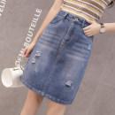 skirt Autumn of 2018 S M L XL 2XL 3XL Light blue dark blue Middle-skirt Versatile High waist skirt Solid color Type H Denim Other / other cotton