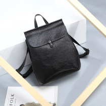 Backpack cowhide Other / other black brand new in zipper leisure time Double root European and American fashion soft youth no Soft handle Solid color Yes female Water splashing prevention Vertical square Zipper hidden bag mobile phone bag certificate bag sandwich zipper bag polyester fiber Buckle no