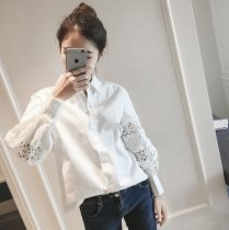 shirt white S M L XL 2XL Spring of 2018 other 30% and below Long sleeves commute Polo collar Single row multi button puff sleeve Solid color 18-24 years old Self cultivation Other / other Gouhua hollow