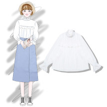shirt White apricot Average size Spring of 2018 cotton 31% (inclusive) - 50% (inclusive) Long sleeves commute Regular Half high collar Socket Petal sleeve Solid color Straight cylinder Other / other