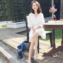 Dress Autumn of 2018 White (for free) rust red (for free) XS S M L XL Middle-skirt singleton  Short sleeve commute V-neck High waist Solid color Socket