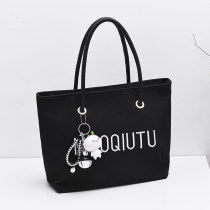 Bag handbag PU Tote Bag Hairy rabbit brand new Japan and South Korea large leisure time soft zipper yes Solid color Single root Yes Shopping bag letter Soft handle canvas Card zipper pocket mobile phone pocket certificate Pocket Sandwich zipper pocket computer pocket 12# Frosting set-in pocket