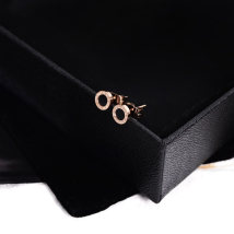 Ear Studs Titanium steel 10-19.99 yuan Han Jing Rose gold (black) brand new Japan and South Korea female goods in stock Fresh out of the oven other other E0222