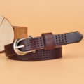 Belt / belt / chain top layer leather Earthy yellow reddish brown red black brown female belt Versatile Single loop Youth, middle age and old age 1.8cm