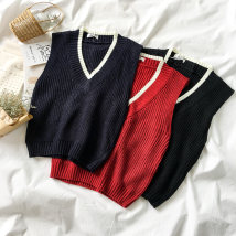 sweater Autumn of 2018 Average size Red black Navy Sleeveless Socket singleton  Regular acrylic fibres 95% and above V-neck Regular commute routine