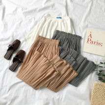 Casual pants Khaki black Average size Summer of 2018 Ninth pants Wide leg pants Natural waist commute routine 18-24 years old 96% and above 0504800