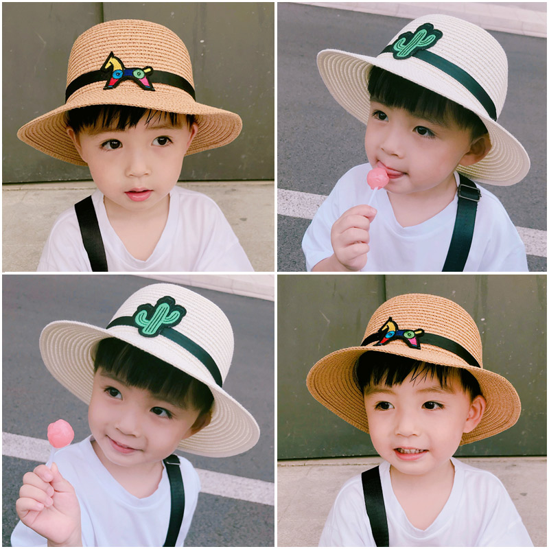 Hat Average size Head circumference of 3-5 years old (49-51cm) and 6-10 years old (52-54cm) neutral Fisherman hat dome Travel 16 Mongkok Wide eaves other Straw hat - black straw hat Summer of 2018