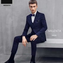 Suit Youth fashion AI Chen navy blue 165/88A 170/92A 175/96A 180/100A Back middle slit Flat lapel summer Self cultivation A single breasted button wedding M101 youth Regular collar (collar width 7-9cm) other
