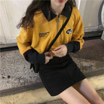 Sweater / sweater Autumn of 2018 yellow Average size Long sleeves Cardigan routine singleton  routine Doll Collar Straight cylinder commute routine 18-24 years old Korean version zipper