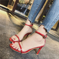 Sandals 35 36 37 38 39 Red Silver Black Mallard cat PU Barefoot Fine heel High heel (5-8cm) Summer of 2018 Flat buckle Korean version Solid color Adhesive shoes Youth (18-40 years old) rubber daily waterproof Low Gang PU PU