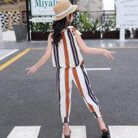 suit Other / other Apricot vertical stripe suit 45-3h 110cm 120cm 130cm 140cm 150cm 160cm female summer Versatile Sleeveless + pants 2 pieces Socket