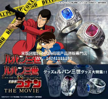 Cartoon watch / Necklace / Jewelry Over 14 years old Detective Conan Ring Ruby Size 18 * sapphire size 20 Out of print collection goods in stock Konan Edogawa Japan