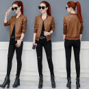 leather clothing Fall of 2018 Coffee bean green black MLXL2XL Inif Short paragraph Straight Long sleeve zipper Commuting Round neck conventional Splice