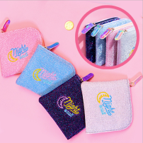 wallet Short Wallet PU Other / other Purple Silver Pink Sky Blue brand new Japan and South Korea female zipper other juvenile Small change Embroidery qb001 Bright side
