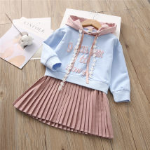 Dress wathet Other / other female 90cm 100cm 110cm 120cm 130cm Cotton 85% polyurethane elastic fiber (spandex) 15% spring and autumn Korean version Long sleeves other cotton Pleats eight thousand six hundred and fifty-one Class B