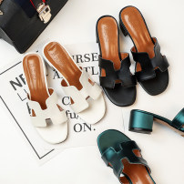 Sandals 34 35 36 37 38 39 40 Black 6313-1 white 6313-1 dark green 6313-1 black 6313-2 white 6313-2 dark green 6313-2 Ciyafen PU Barefoot Thick heel Middle heel (3-5cm) Summer of 2018 Trochanter comfortable Solid color Adhesive shoes Youth (18-40 years old) middle age (40-60 years old) TPR (tendon) PU