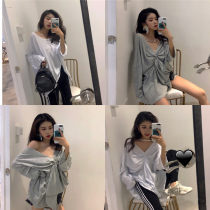 T-shirt White grey black Average size Summer of 2018 Long sleeves other easy Medium length commute other 31% (inclusive) - 50% (inclusive) 18-24 years old Korean version Solid color eight thousand nine hundred and nine