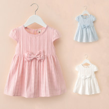 Dress Pink white light blue Zhou dada female 90cm 100cm 110cm 120cm 130cm 140cm Other 100% summer leisure time Short sleeve Solid color cotton Irregular X0323 Class B