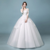 Wedding dress Summer of 2018 Single piece wedding dress, wedding dress with gloves and headdress, wedding dress with 8 pieces XXL S M L XL Sweet Skirt Princess Bandage Hotel Interior One shoulder satin Three dimensional cutting High waist 18-25 years old Embroidery Sleeved shawl pregnant woman
