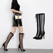 Boots 35 36 37 38 39 40 black Mesh Other / other Super high heel (over 8cm) Fine heel Wool High tube Sharp point No interior No interior Autumn of 2018