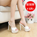 slipper It's a smaller size, so it's recommended to choose a larger size Other / other White with height 10 cm black with height 10 cm white black Fine heel Super high heel (over 8cm) Superfine fiber Summer 2016 One line rubber daily Korean version Adhesive shoes Solid color waterproof PU PU Shaving