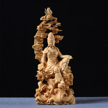Wood carving character elegant and delicate Boxwood Boxwood carving in Yueqing circular engravure Neoclassical Royal gold products