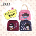 Bag handbag oxford Small square bag Sweet candy Pink blue grey red brand new Japan and South Korea Small leisure time soft zipper yes Cartoon animation Single root nothing youth Horizontal square Sewing Soft handle Aluminum film three thousand seven hundred and two Autumn and winter 2017