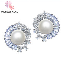 Ear Studs Synthetic cubic zirconia / water drill 201-300 yuan MICHELLE COCO Pearl White brand new Japan and South Korea female goods in stock Fresh out of the oven Alloy inlaid artificial gem / semi gem other Exclusive to tmall (only sold in tmall)