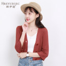 Wool knitwear Autumn of 2018 SML Brick red apricot black white Nine point sleeve singleton  Cardigan have cash less than that is registered in the accounts routine commute Self cultivation V-neck pagoda sleeve Solid color Socket Korean version WH-2140 18-24 years old Hreyuegec / Han Yige Button