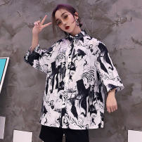 shirt Youth fashion Antique vending machine Average size Black and white routine Short sleeve stand collar easy Travel? summer nine thousand seven hundred and twenty-eight teenagers Polyester 100% tide 2018 other printing