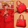 Bag PU handbag Dai Baobao Aima Festive red brand new European and American fashion banquet In No Single soft zipper Pure color youth Have Soft handle