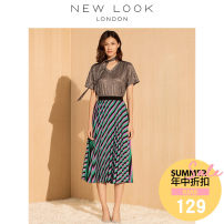 skirt Summer of 2018 150/60A155/64A160/68A165/72A170/76A175/80A Polychromatic Mid length dress street Natural waist A-line skirt stripe Type A 18-24 years old five hundred and ninety million seven hundred and forty-six thousand two hundred and ninety-nine NEW LOOK Polyester 100% Europe and America