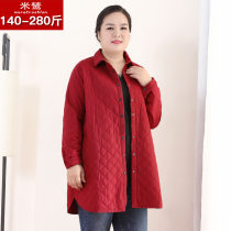 Middle aged and old women's wear Winter of 2018 4XL 5XL 6XL 7XL 8XL 9XL 10XL Red and black commute Jacket / jacket Self cultivation singleton  Solid color 40-49 years old Cardigan moderate routine routine 18079T Ms Retroshion pocket polyester fiber Polyethylene terephthalate (polyester) 100%