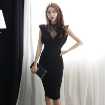 Dress Summer of 2018 black S M L Mid length dress singleton  Sleeveless commute stand collar High waist Solid color zipper Pencil skirt Others 18-24 years old Korean version Open back zipper lace