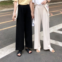 Casual pants Black apricot Average size Summer of 2018 Ninth pants Wide leg pants High waist commute routine 18-24 years old 96% and above