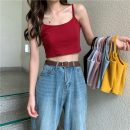 Vest sling Summer of 2019 Light blue, gray, white, red, yellow, black, pink Average size singleton  routine Self cultivation camisole Solid color 18-24 years old Other / other