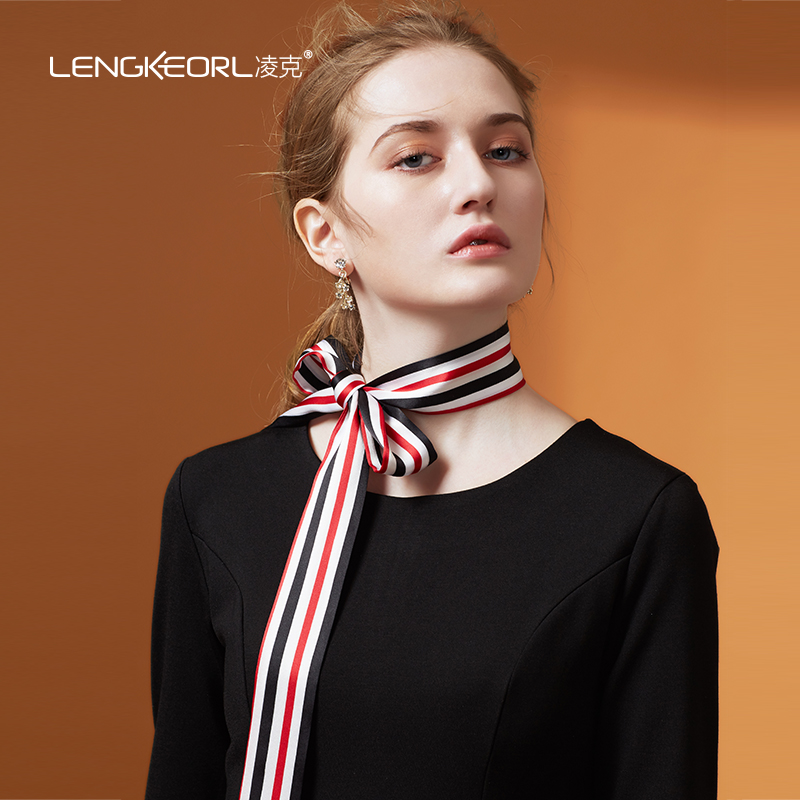 Scarf / silk scarf / Shawl silk Spring and autumn, summer and winter female Scarves / scarves multi-function Korean version rectangle Student youth middle age stripe printing 4cm 170cm More than 96% Lengkeorl / link LKPD04 Autumn and winter 2017