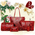 Bag The single shoulder bag PU Child mother bag Ruby Off white red blue brand new ethnic style in leisure time soft zipper no Plants and flowers Single root One shoulder cross carry nothing youth Embossing Soft handle polyester fiber Zipper pocket, mobile phone bag, certificate bag X4607 Embossing