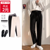 Western-style trousers Others Youth fashion Grey, black, khaki S,M,L,XL,2XL,3XL,4XL trousers Straight cylinder autumn leisure time youth tide Solid color No iron treatment