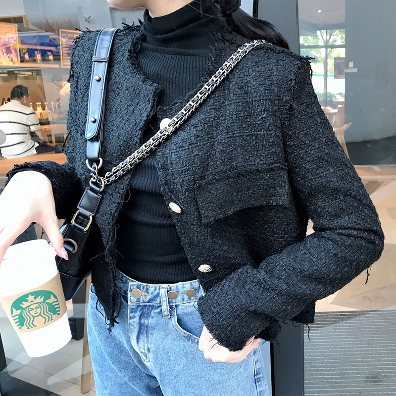 short coat Autumn of 2018 S M black Long sleeves routine singleton  easy routine Single breasted Solid color 25-29 years old Button WT—015#
