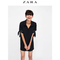 Dress Autumn of 2018 black XS (160/80A)S (165/84A)M (170/88A)L (175/96A)XL (175/100A)XXL (180/108A) Short skirt singleton  Short sleeve commute V-neck middle-waisted Solid color other routine Others 25-29 years old ZARA Simplicity bow 01639162800-23 Polyester 100%