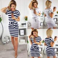Dress Summer of 2018 Grey blue S M L XL singleton  Short sleeve street Crew neck stripe Socket Europe and America