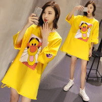 T-shirt Yellow orange M L XL 2XL 3XL Summer of 2018 Short sleeve Crew neck easy Medium length routine commute cotton 86% (inclusive) -95% (inclusive) Korean version originality Cartoon animation Other / other Printing holes