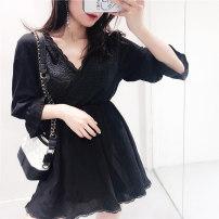 Dress Summer of 2018 White black Average size Short skirt singleton  Nine point sleeve V-neck Solid color Socket 18-24 years old 51% (inclusive) - 70% (inclusive)