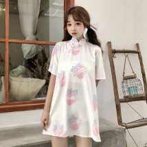 Dress Summer of 2018 White pink XXXs pre sale s M Middle-skirt singleton  Short sleeve Sweet Half high collar Loose waist other Socket other routine Others 18-24 years old Type A Other / other Eighteen Crepe de Chine polyester fiber solar system