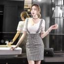 Dress Summer of 2018 Graph color S M L XL Short skirt singleton  Short sleeve commute V-neck High waist lattice zipper Ruffle Skirt routine Others 18-24 years old Korean version Zipper lace with ruffles