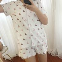 Pajamas / housewear set female Other / other Average size White cherry Top + shorts pink coconut Top + Shorts White Cherry Top + trousers pink coconut Top + trousers other Long sleeves Simplicity Leisure home autumn Front buckle youth 2 pieces